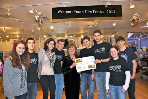 BFCA Member, Susan Granger,  presents $2,500 check at the Westport Youth Film Festival
